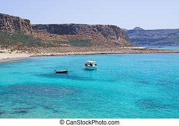 Boats near Balos beach on Crete, Greece
