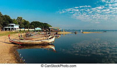 Boats near Taungthaman shore, Amarapura, Myanmar