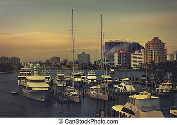 Boats near the port at Ft Lauderdale, Florida.