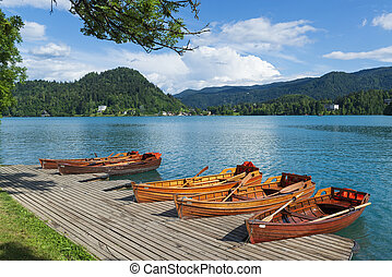 Boats on a Bled lake.