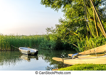 Boats on a lake at sunrise with reed in the background