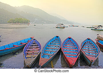 Boats on a lake in Asia