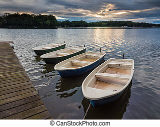 Boats on a lake.