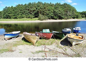 boats on a lakeshore