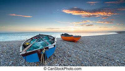 Boats on a Pebble Beach