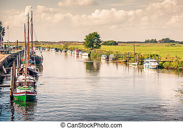 Boats on a river canal