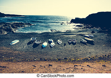 boats on a shore