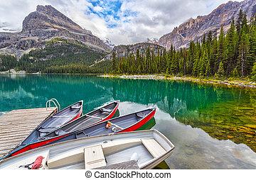 Boats on Dock at Lake O'Hara in the Canadian Rockies of Yoho National Park