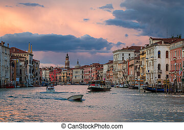 Boats on Grand Canal at Sunset, Venice