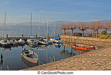 Boats on Lake Como, Italy.