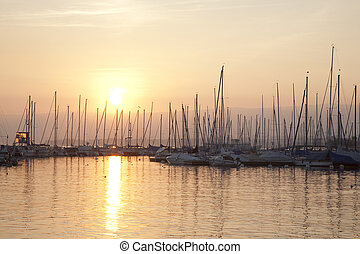 Boats on Lake Geneva; Lausanne; Switzerland