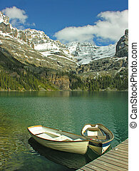 Boats on Lake O'hara, Yoho National Park, Canada