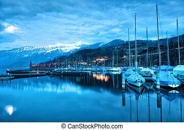 Boats on Lake Thun. Bernese Oberland. Switzerland.