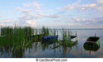 Boats on Nero lake, Rostov the Great, Russia