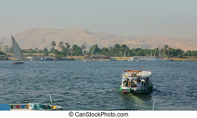 boats on Nile River in Luxor, Egypt - timelapse