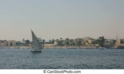 boats on Nile River in Luxor, Egypt