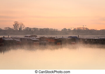 Boats on river Thames in Oxford.