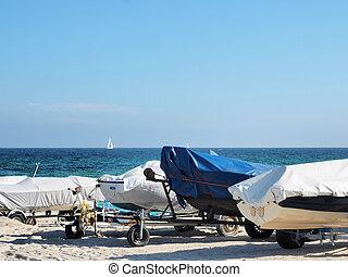 Boats on the baltic sea beach