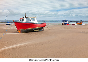 Crow Point Devon England UK - Boats on the beach at Crow...