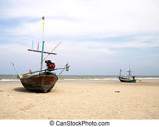 Boats on the beach, huahin, thailand