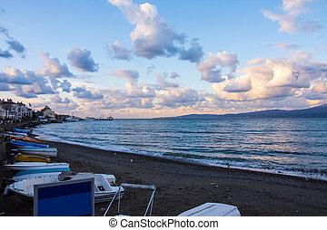 boats on the beach in Mudanya