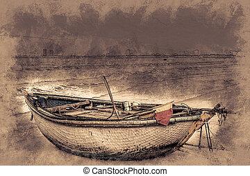 boats on the beach of Da Nang city, Vietnam