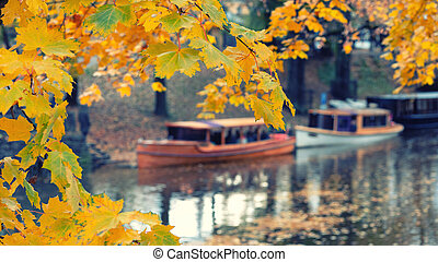 Boats on the canal in autumn