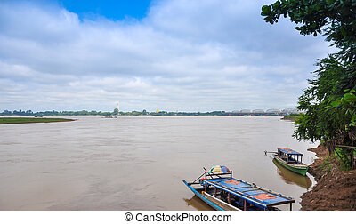 Boats on the Irrawaddy River,Sagaing Region, Myanmar
