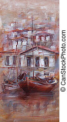 Boats on the island harbor,handmade painting