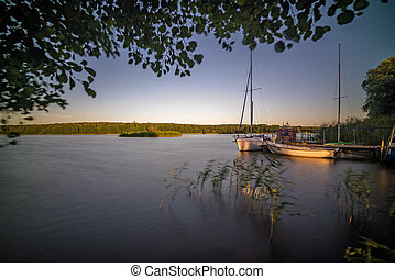 Boats on the Jezioro Ostrowieckie in summer