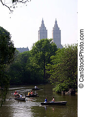 Lake in Central Park - Boats on the Lake in Central Park,...