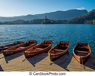 Boats on the lake of Bled