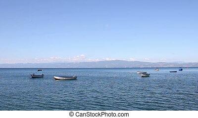 boats on the lake Ohrid Macedonia