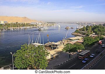 Boats on the Nile river, Aswan, Egypt