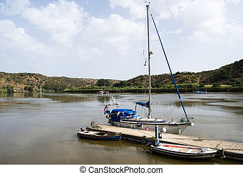 Boats on the river Guadiana