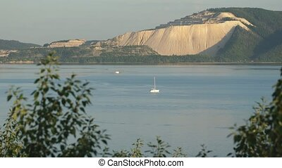 boats on the river Volga,beautiful mountain view