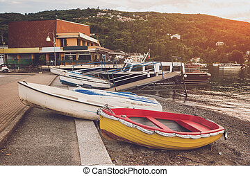 Boats on the shore.