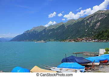 Boats on the shore of Lake Brienz.