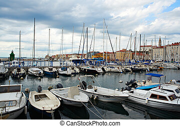 Boats, Piran - View of boats in the Piran harbor Slovenia