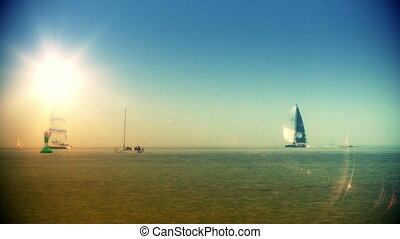 Boats sailing on the horizon