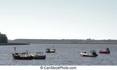 boats sailing on the Santa Lucia river in Uruguay - boats...