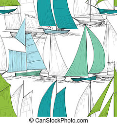 Boats seamless pattern vector