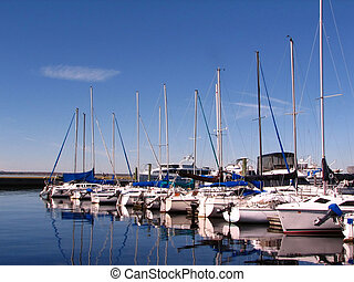 Boats - Shot of several boats at the pier in Sanford, ...