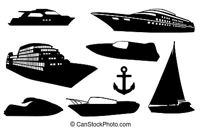 boats - set of boats silhouettes