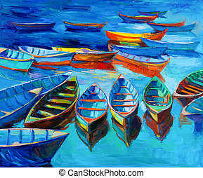 Boats - Original oil painting of boats and sea on...