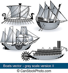 boats vector - gray scale 2 - The work represent four boats ...