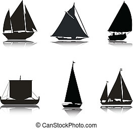 Boats vector silhouettes