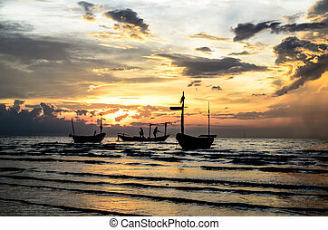 Boats with sunset