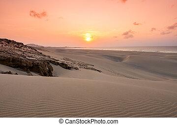 boavist, dunas, chaves, de, praia, arena, playa puesta sol