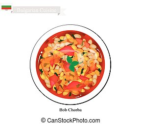Bulgarian Cuisine, Bob Chorba or Traditional Bean Soup Made From Dry Beans, Onions, Tomatoes, Chubritza or Dzhodzhen (Spearmint) and Carrots. A National Food of Bulgaria.